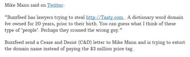 极品好米Tasty.com被美国终端盯上!价值2000万  域名快讯  第2张